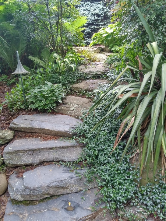 Stone steps lead from a lower patio, with a step across a part of a pond to the upper patio beside the house.